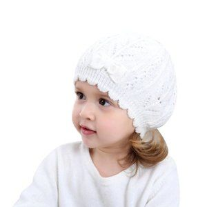 White Knit Heart Pattern Hat with Bow